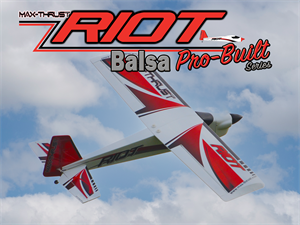 Max Thrust Pro-Built Balsa Riot Kit Red - IC or Electric