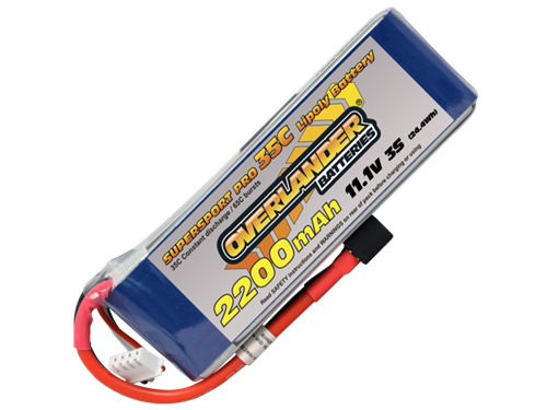 Overlander 2200mAh 11.1v 35c LiPo Battery - Supersport Pro